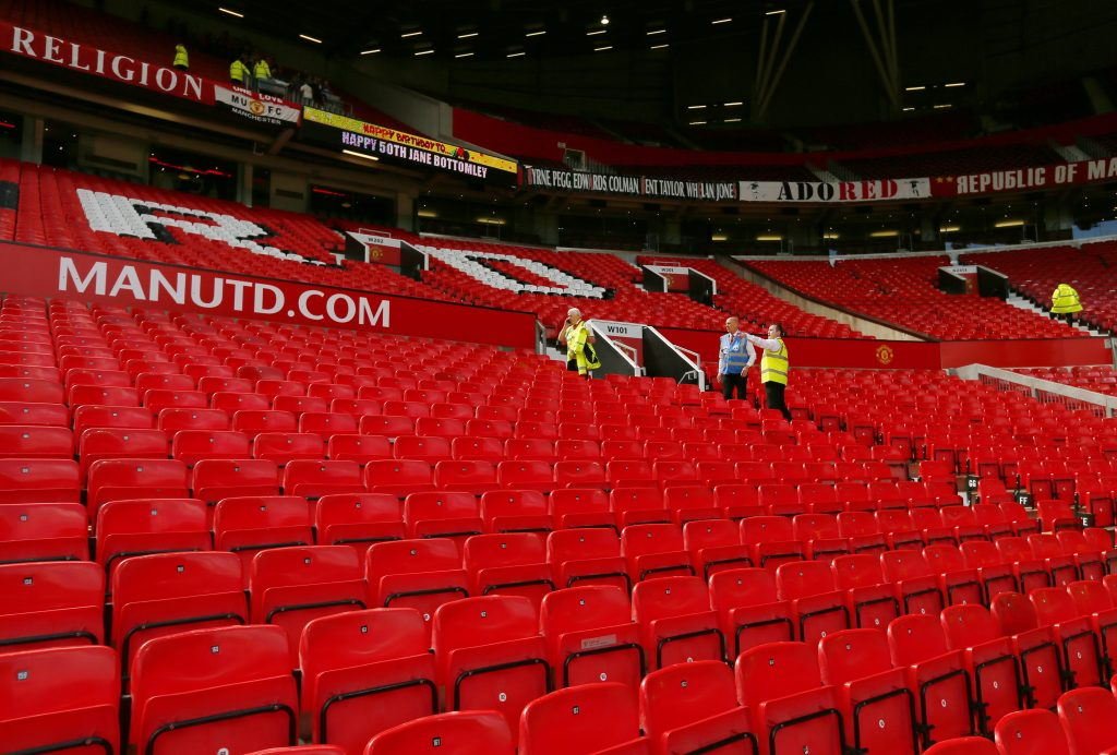 Old Trafford stadium after fans were evacuated Sunday. (Action Images via Reuters/Jason Cairnduff Livepic)