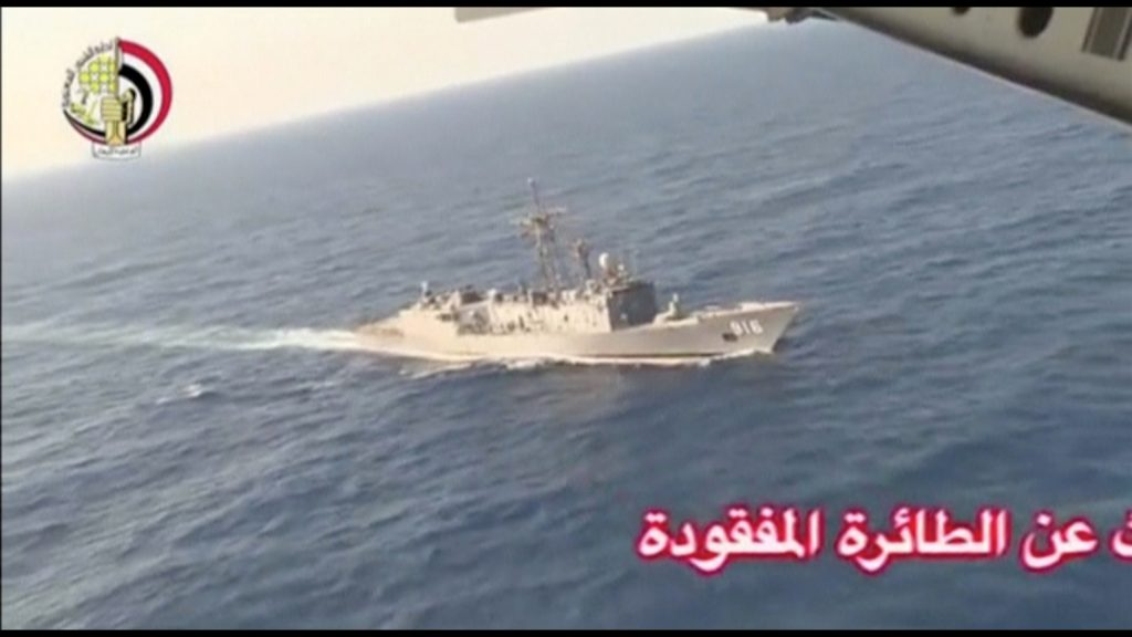 An Egyptian military search boat takes part in a search operation for the missing EgyptAir plane in the Mediterranean Sea on Thursday, in this still image taken from video. (Egyptian Military/Handout via Reuters)