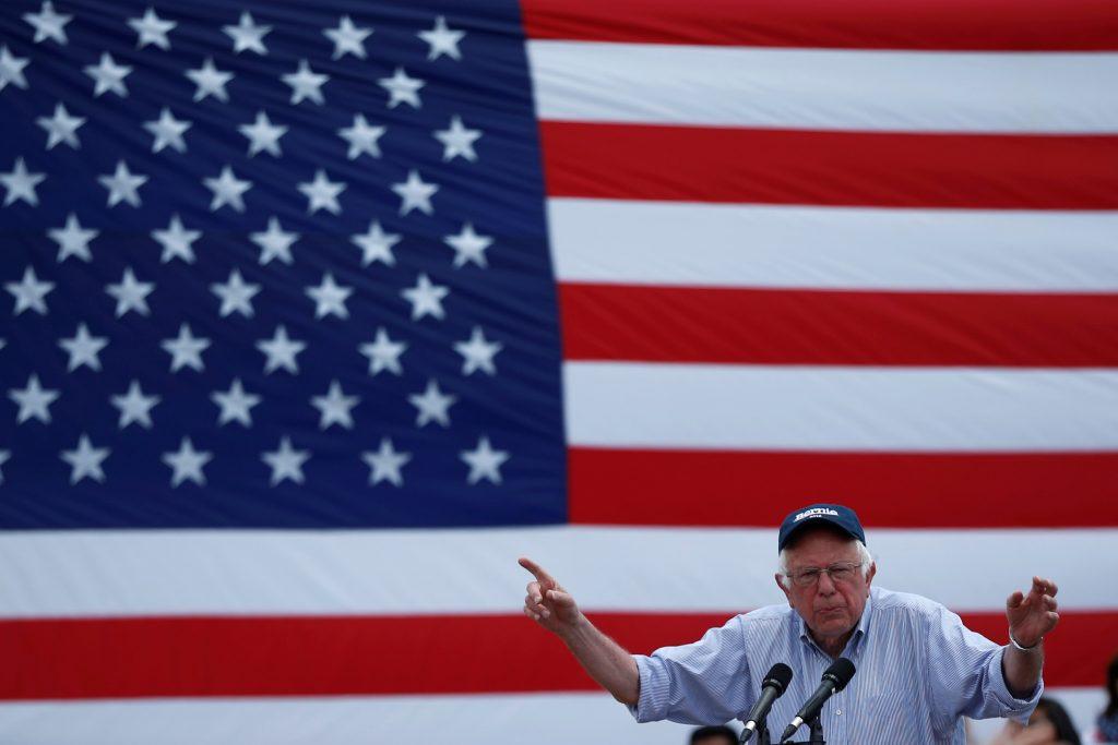 Democratic presidential candidate Bernie Sanders speaks in East Los Angeles, California. (Lucy Nicholson/Reuters)