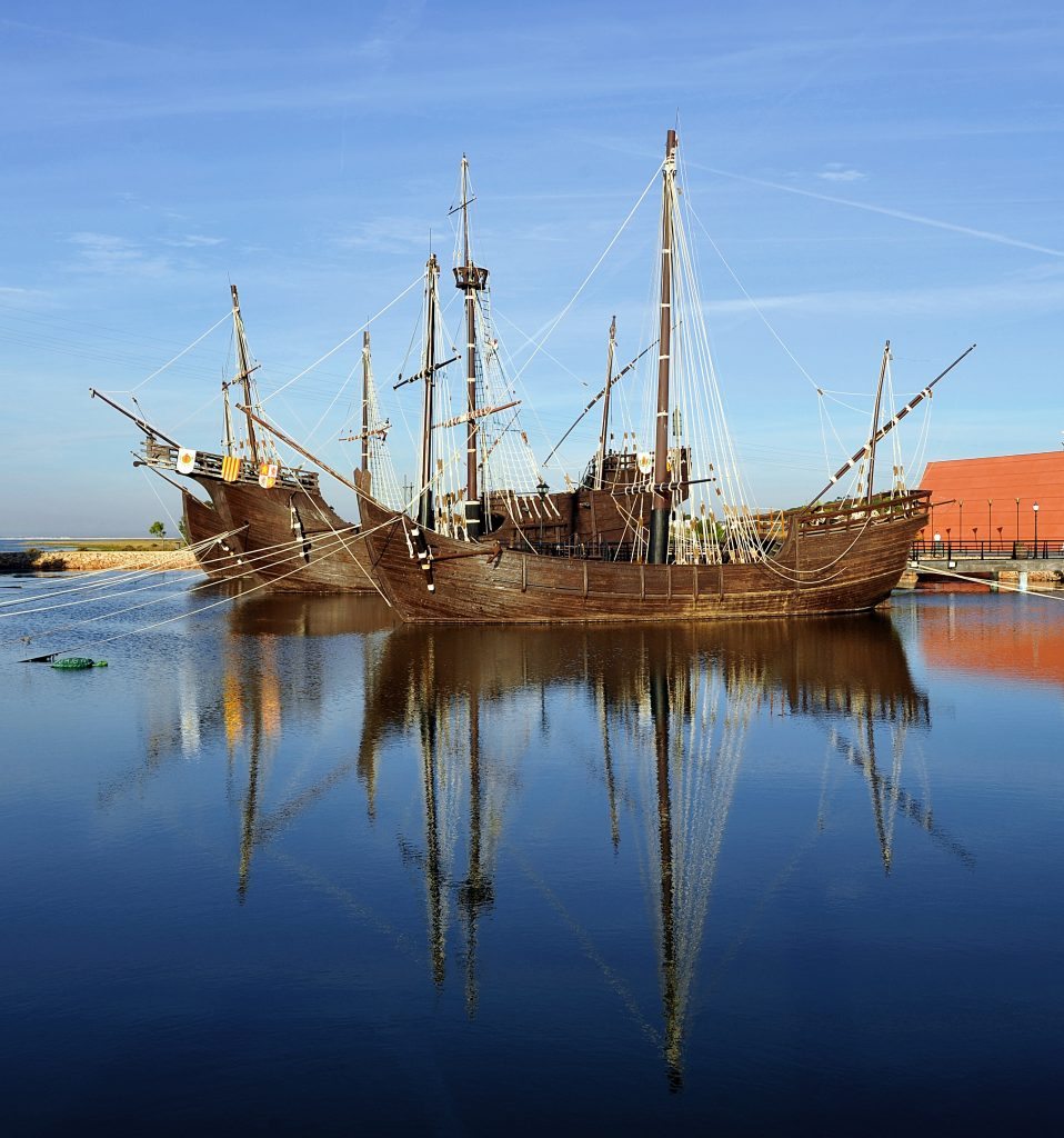 The three ships of Christopher Columbus.