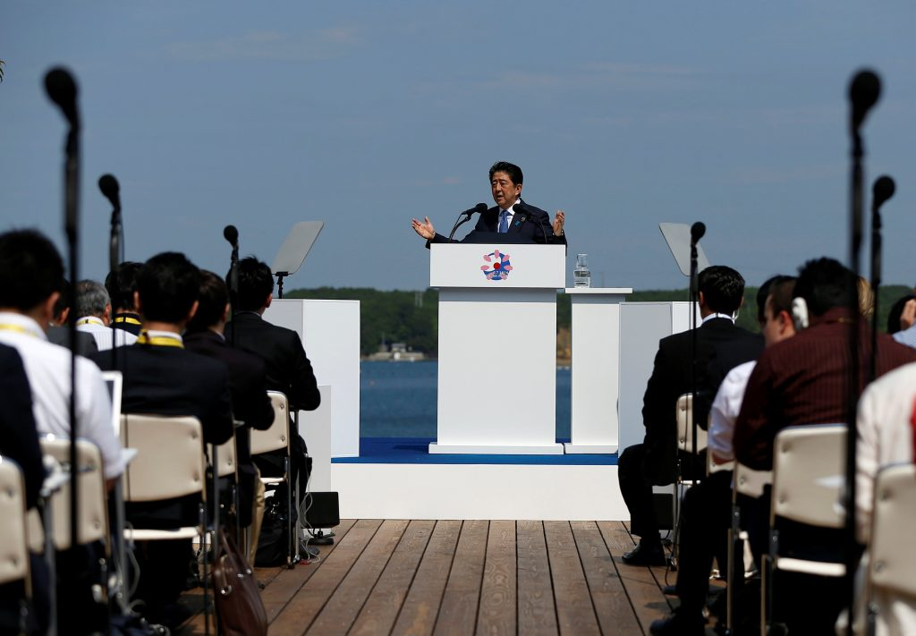 Japanese Prime Minister Shinzo Abe speaks at a news conference during the G7 Ise-Shima Summit in Shima, Japan, May 27, 2016. REUTERS/Issei Kato