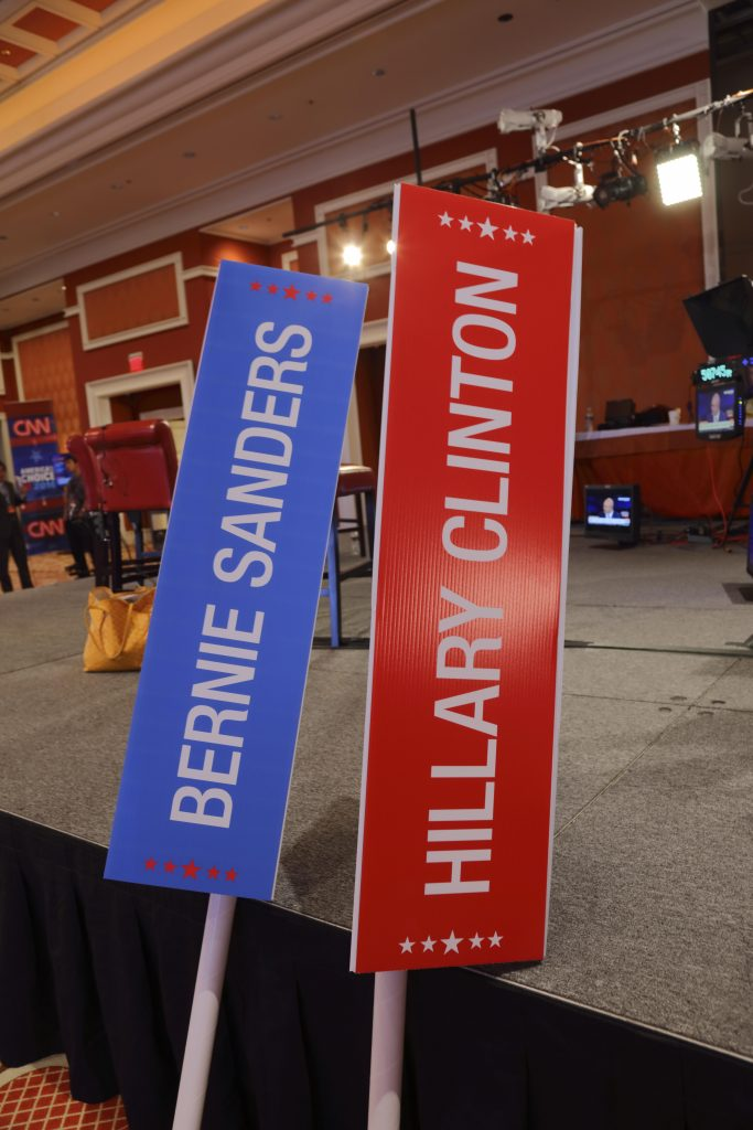 LAS VEGAS, NV - OCTOBER 13, 2015 - CNN Democratic presidential debate shows Bernie Sanders and Hillary Clinton Signs at Wynn Las Vegas on October 13, 2015 in Las Vegas, Nevada.