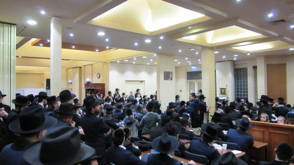 """An Atzeres Tefillah was held at the Adass Yisrael Shul in Melbourne, Australia, on Sunday, Pesach Sheini, as the Melbourne community has suffered a number of tragedies recently, r""""l. (Y. Rosenbaum)"""
