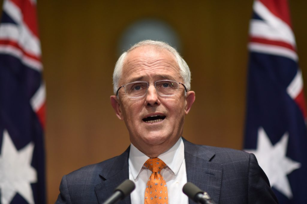 Australian Prime Minister Malcolm Turnbull speaks to the media during a news conference at Parliament House in Canberra, Australia, May 8, 2016 after asking Australia's Governor-General Peter Cosgrove to dissolve both Houses of Parliament to call a double dissolution election for July 2, 2016. AAP/Lukas Coch/via REUTERS ATTENTION EDITORS - THIS PICTURE WAS PROVIDED BY A THIRD PARTY. EDITORIAL USE ONLY. NO RESALES. NO ARCHIVE. AUSTRALIA OUT. NEW ZEALAND OUT.