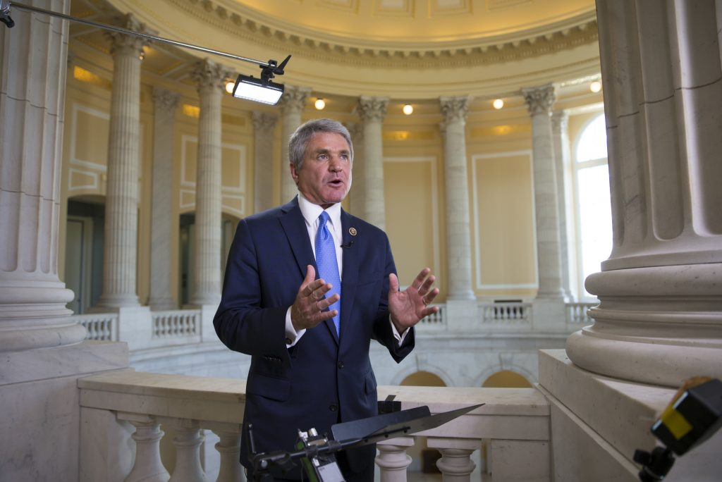 House Homeland Security Committee Chairman Rep. Michael McCaul, R-Texas, speaking about long security lines at airport checkpoints, on Capitol Hill on Thursday. (AP Photo/J. Scott Applewhite)