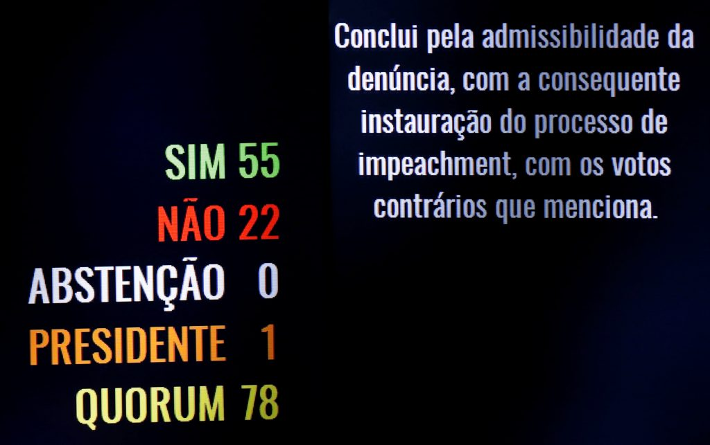 The voting panel after a session shows the result, in favour of the impeach of President Dilma Rousseff for breaking budget laws in Brasilia, Brazil, May 12, 2016. REUTERS/Ueslei Marcelino TPX IMAGES OF THE DAY