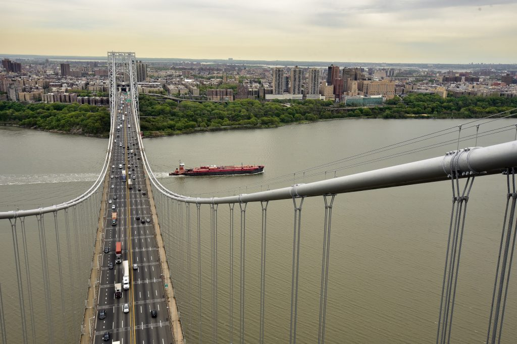 New York City, NY as seen from the support tower on the New Jersey side of the George Washington Bridge in Fort Lee, NJ on May 10, 2016. (Marko Georgiev/The Record of Bergen County via AP)