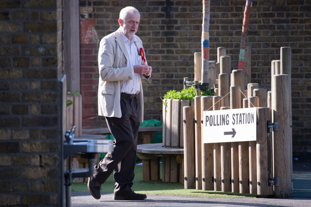 Britain's Labour party leader Jeremy Corbyn arrives to cast his vote at a polling station in Islington, north London Thursday May 5, 2016. Britons voted Thursday in local and regional elections that will choose a new mayor for London — and are expected to deal a blow to Britain's main opposition Labour Party. Voters are electing a Scottish Parliament, legislatures in Wales and Northern Ireland as well as choosing many English local authorities, including a new London mayor to replace flamboyant Conservative Boris Johnson. (Stefan Rousseau/PA via AP) UNITED KINGDOM OUT NO SALES NO ARCHIVE