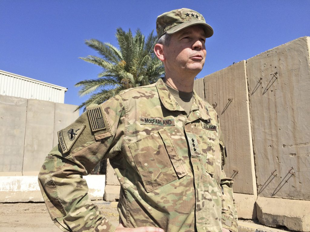 CORRECTS LOCATION OF RUTBA FROM SOUTHWESTERN IRAQ TO WESTERN IRAQ - Army Lt. Gen. Sean MacFarland, the top U.S. commander in Baghdad, speaks to reporters in Baghdad, Iraq, Friday, May 20, 2016. Bolstered by U.S. airstrikes, Iraqi ground forces have recaptured the western town of Rutba after Islamic State fighters who had occupied the town for nearly two years fled or put up only light resistance, U.S. military officers said Friday. (AP Photo/Robert Burns)