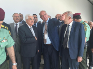 Palestinian President Mahmoud Abbas at the opening ceremony. (Palestinian Museum/Twitter)