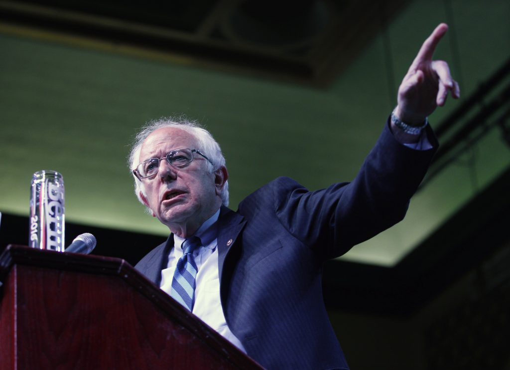 Bernie Sanders, I-Vt. speaks at a campaign rally in Atlantic City, N.J., on Monday. (AP Photo/Mel Evans)