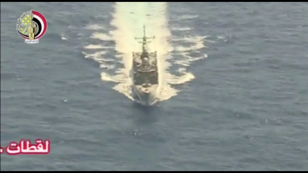 An Egyptian military search boat takes part in a search operation for the EgyptAir plane that disappeared in the Mediterranean Sea in this still image taken from video May 19, 2016. Egyptian Military/Handout via Reuters TV ATTENTION EDITORS - THIS IMAGE WAS PROVIDED BY A THIRD PARTY. EDITORIAL USE ONLY. NO RESALES. NO ARCHIVE.