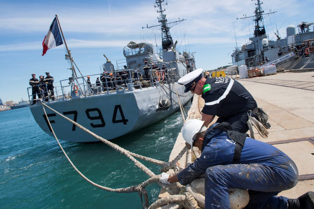 The French Navy's EV Jacoubet prepares to leave the Mediterranean port of Toulon, France, May 20, 2016 in this picture taken and released on Friday by the French Navy SIRPA Marine, to take part in a search operation of the EgyptAir passenger plane. Courtesy Marine Nationale/SIRPA/Stephane Dzioba/Handout via Reuters ATTENTION EDITORS - THIS PICTURE WAS PROVIDED BY A THIRD PARTY. REUTERS IS UNABLE TO INDEPENDENTLY VERIFY THE AUTHENTICITY, CONTENT, LOCATION OR DATE OF THIS IMAGE. EDITORIAL USE ONLY. NOT FOR SALE FOR MARKETING OR ADVERTISING CAMPAIGNS. NO RESALES. NO ARCHIVE. THIS PICTURE IS DISTRIBUTED EXACTLY AS RECEIVED BY REUTERS, AS A SERVICE TO CLIENTS