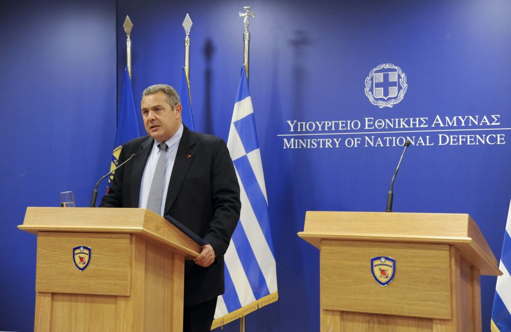 Greek Defence Minister Panos Kammenos speaks during a news conference on an EgyptAir plane that vanished from radar en route from Paris to Cairo, after exiting the Greek airspace, in Athens, Greece, May 19, 2016. REUTERS/Michalis Karagiannis