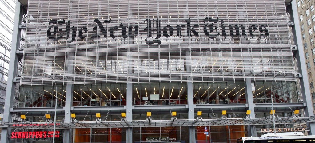 The New York Times building on 8th Ave. and 42nd Street in New York. (AP Photo/Mark Lennihan, File)