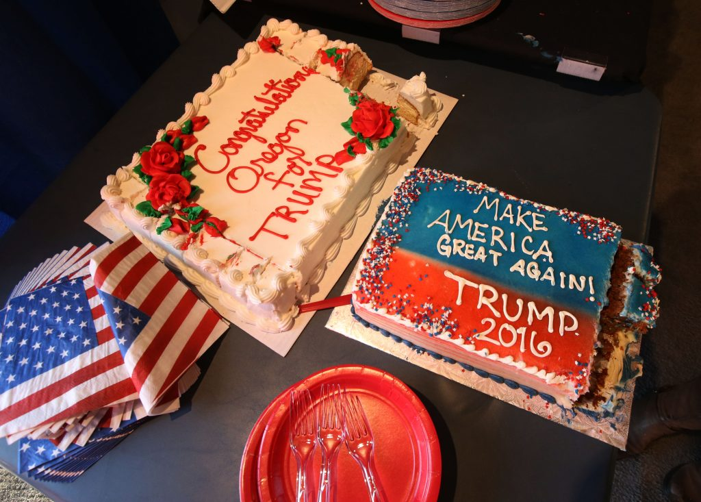 Decorated cakes greet Republican presidential candidate Donald Trump supporters at the Lane County for Trump headquarters in Eugene, Ore., Tuesday, May 17, 2016. (Chris Pietsch/The Register-Guard via AP) MANDATORY CREDIT
