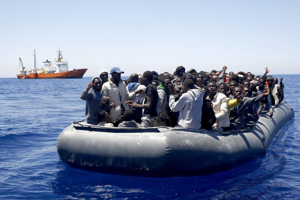 African migrants on a dinghy in the Mediterranean Sea. (Giorgos Moutafis/SOS MEDITERRANEE via AP)