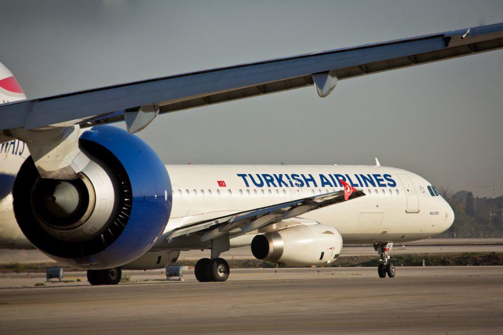 A Turkish Airlines flight seen at the airstrip at the Ben Gurion International Airport. February 26, 2015. Photo by Moshe Shai/FLASH90 *** Local Caption *** îèåñé çáøú ðúá'â ðúáâ îèåñ ðîì úòåôä ùãä úòåôä áï âåøéåï