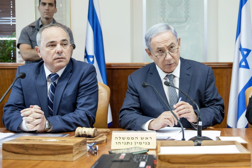 Israeli Prime Minister Benjamin Netanyahu leads the weekly cabinet meeting at the Prime Minister office in Jerusalem on May 22, 2016. Photo by Emil Salman/POOL *** Local Caption *** øàù äîîùìä áðéîéï ðúðéäå áéáé éùéáú îîùìä éåáì ùèééðéõ
