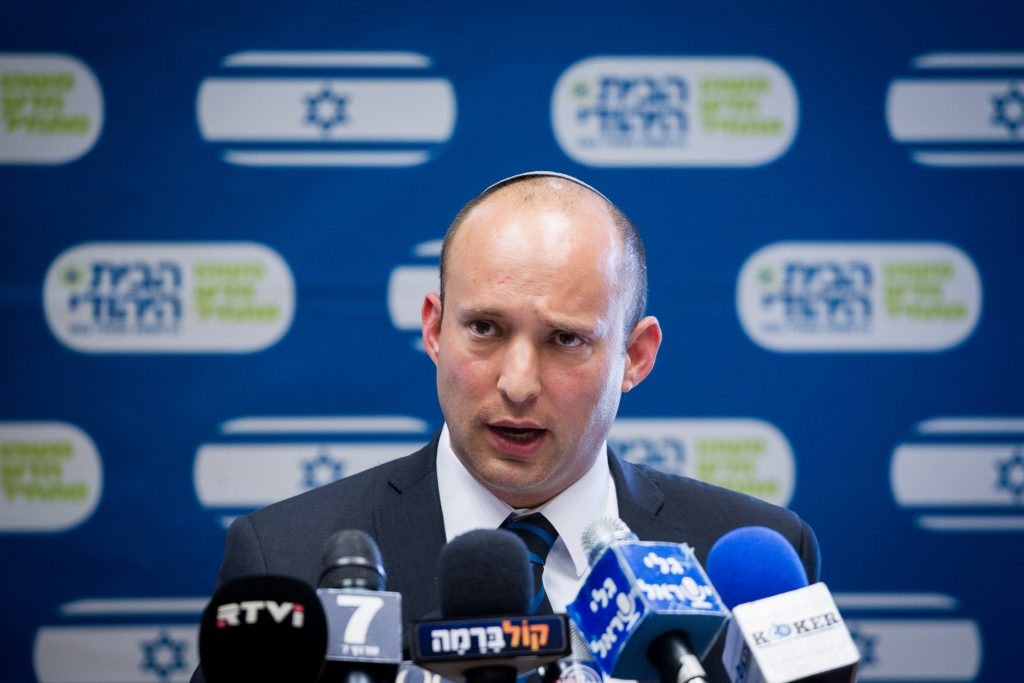 Jewish Home chairman Naftali Bennett speaks during a party meeting at the Knesset on Monday. (Miriam Alster/Flash90)