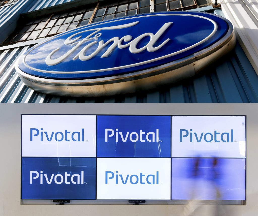 This composite photos shows the logos of Ford and Pivotal. (AP Photo/Keith Srakocic, File; Pivotal via AP)