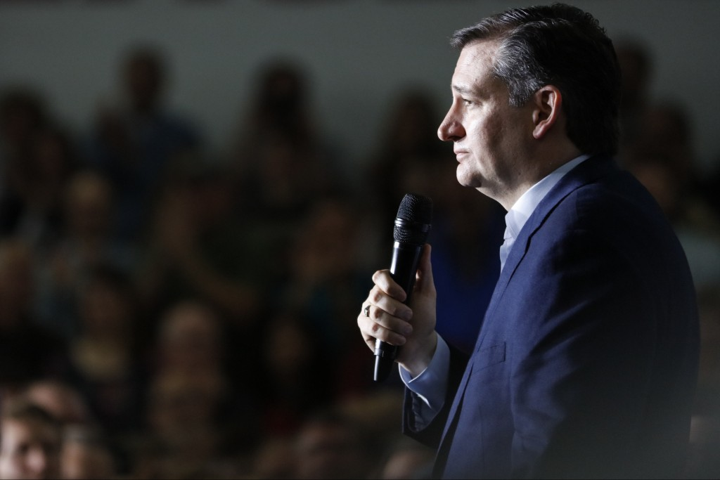 Republican presidential candidate, Sen. Ted Cruz, R-Texas, speaks during a campaign rally in Lafayette, Ind., Sunday, May 1, 2016. (AP Photo/AJ Mast)