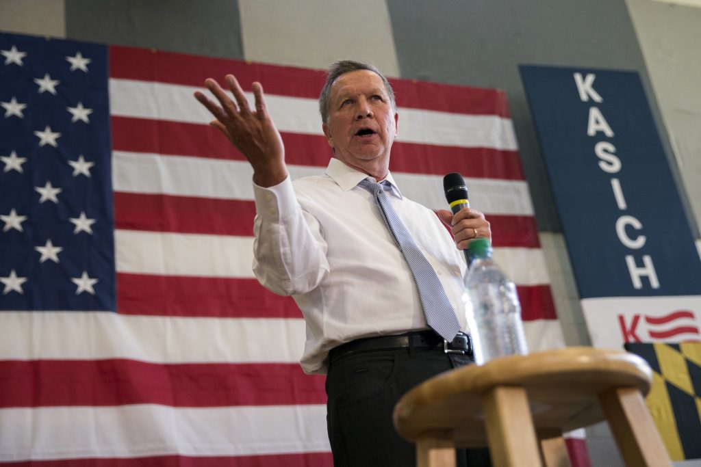 John Kasich at a town hall in Rockville, Md., in April. (AP Photo/Evan Vucci)