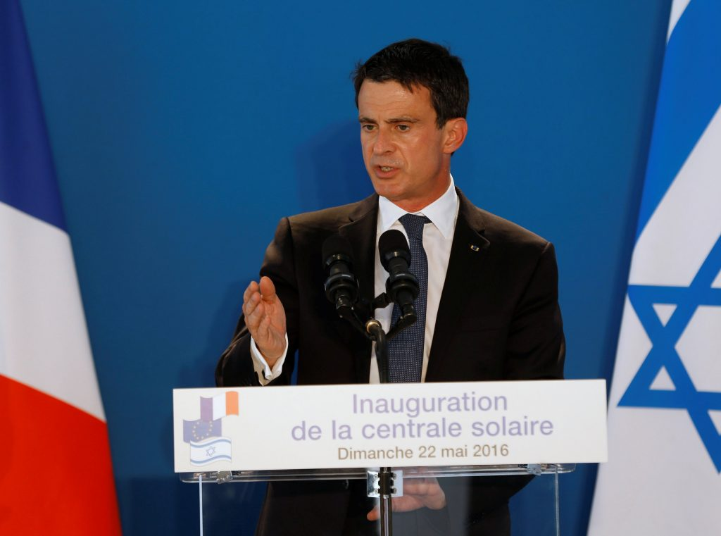 French Prime Minister Manuel Valls delivers a speech during the inauguration of France's EDF Energies Nouvelles Zmorot solar plant facility near the southern Israeli city of Ashkelon May 22, 2016. REUTERS/Baz Ratner
