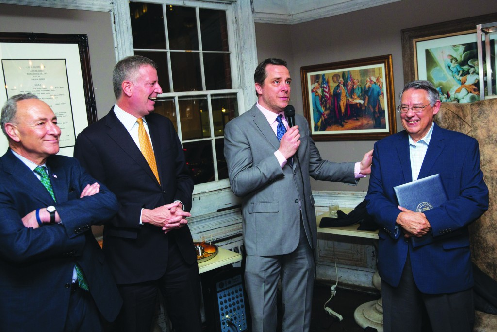 Mayor Bill de Blasio, Senator Chuck Schumer and Daily News Editor-in-Chief Jim Rich attend the retirement party for Daily News columnist Juan Gonzalez at Fraunces Tavern in Manhattan on Monday, May, 2, 2016. Michael Appleton/Mayoral Photography Office