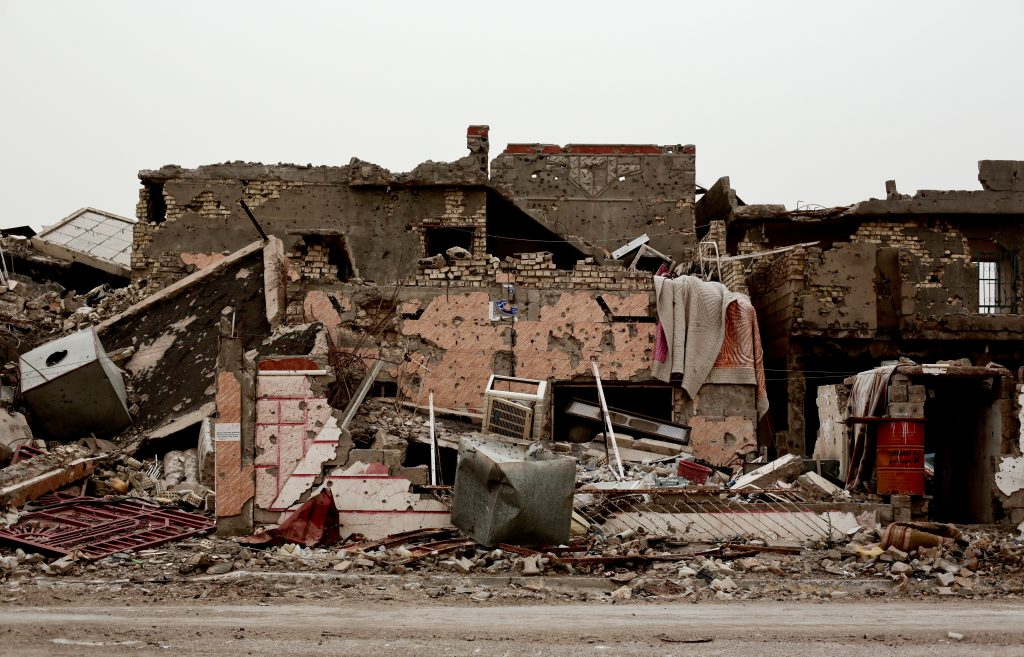 A family house lies in ruins in the Iraqi city of Ramadi on March 20, weeks after the city was retaken from  Islamic State. (AP Photo/Maya Alleruzzo)