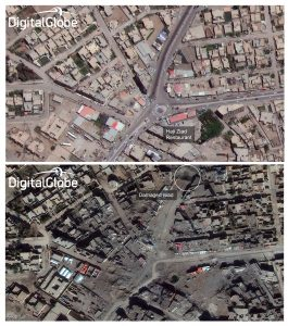 This combination of two satellite photos provided by DigitalGlobe shows Haji Ziad Square in Ramadi, Iraq, in 2014, before the city fell to Islamic State terrorists, top; and on Jan. 29, 2016, after coalition airstrikes and heavy fighting to re-capture the city. (DigitalGlobe via AP)