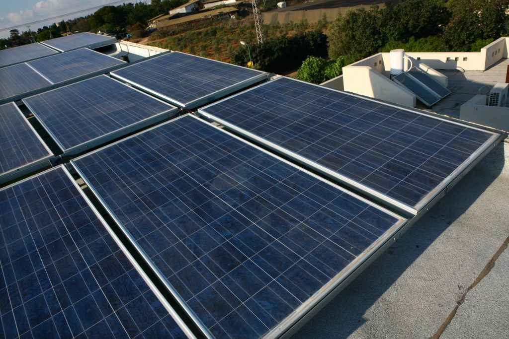 Solar panels on the roof of a private home in Israel. (Chen Leopold/Flash 90)