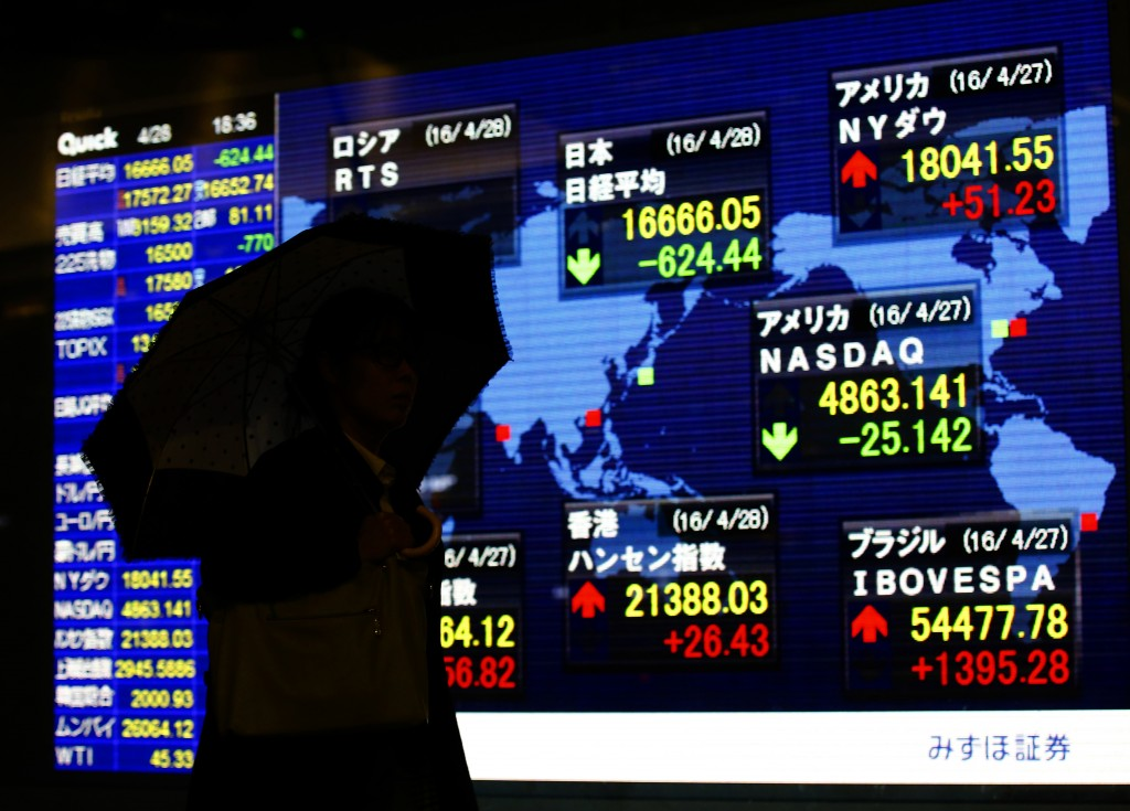 A man looks at an electronic stock indicator of a securities firm in Tokyo, Thursday, April 28, 2016. Japanese stocks tumbled and the yen surged Thursday after the central bank dashed investors' hopes for more stimulus, leading declines in most other world benchmarks after the Fed left interest rates unchanged. Japan's benchmark Nikkei 225 index erased earlier gains, falling 3.6 percent to 16,666.05. (AP Photo/Shizuo Kambayashi)