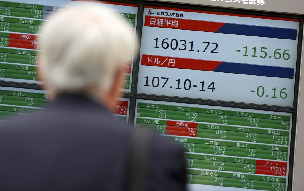 A man watches an electronic stock board showing Japan's Nikkei 225 index at a securities firm in Tokyo, Friday, May 6, 2016. Asian markets were mostly lower in nervous trading Friday ahead of a closely watched U.S. jobs-report that may influence interest rate decisions and the value of the U.S. dollar. (AP Photo/Eugene Hoshiko)