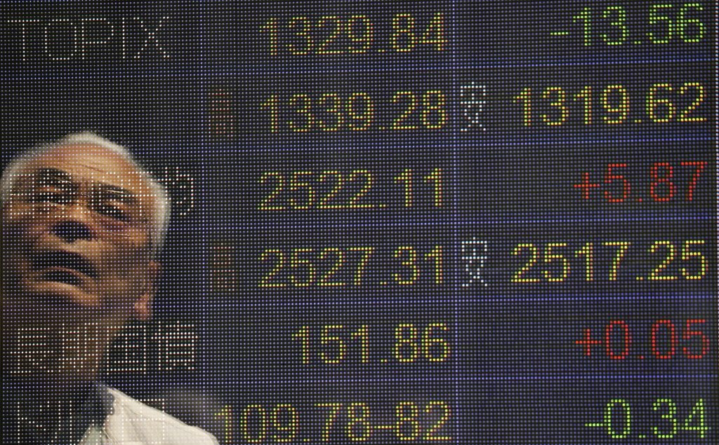 The electronic board of a securities firm in Tokyo on Monday. (AP Photo/Koji Sasahara)