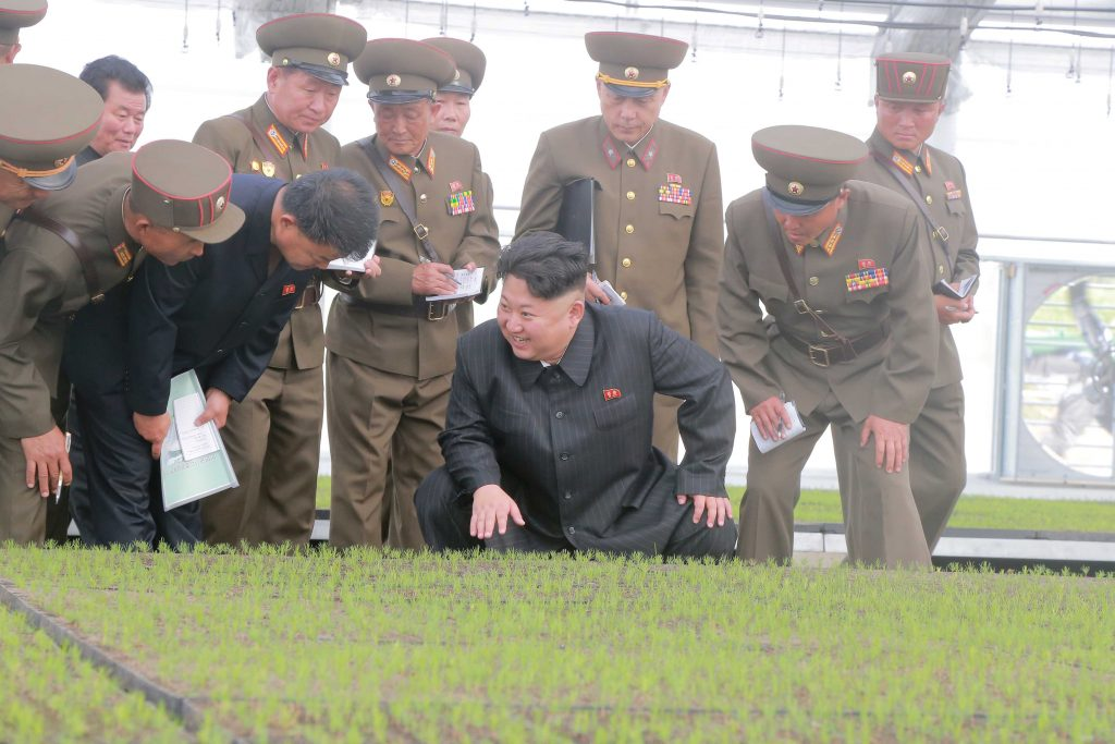 North Korean leader Kim Jong Un provides field guidance to the Tree Nursery No. 122 of the KPA, successfully built as a gift of loyalty to be presented by the KPA to the Seventh Congress of the WPK in this undated photo released by North Korea's Korean Central News Agency (KCNA) in Pyongyang May 15, 2016. KCNA/via Reuters ATTENTION EDITORS - THIS PICTURE WAS PROVIDED BY A THIRD PARTY. REUTERS IS UNABLE TO INDEPENDENTLY VERIFY THE AUTHENTICITY, CONTENT, LOCATION OR DATE OF THIS IMAGE. FOR EDITORIAL USE ONLY. NO THIRD PARTY SALES. SOUTH KOREA OUT. THIS PICTURE IS DISTRIBUTED EXACTLY AS RECEIVED BY REUTERS, AS A SERVICE TO CLIENTS.