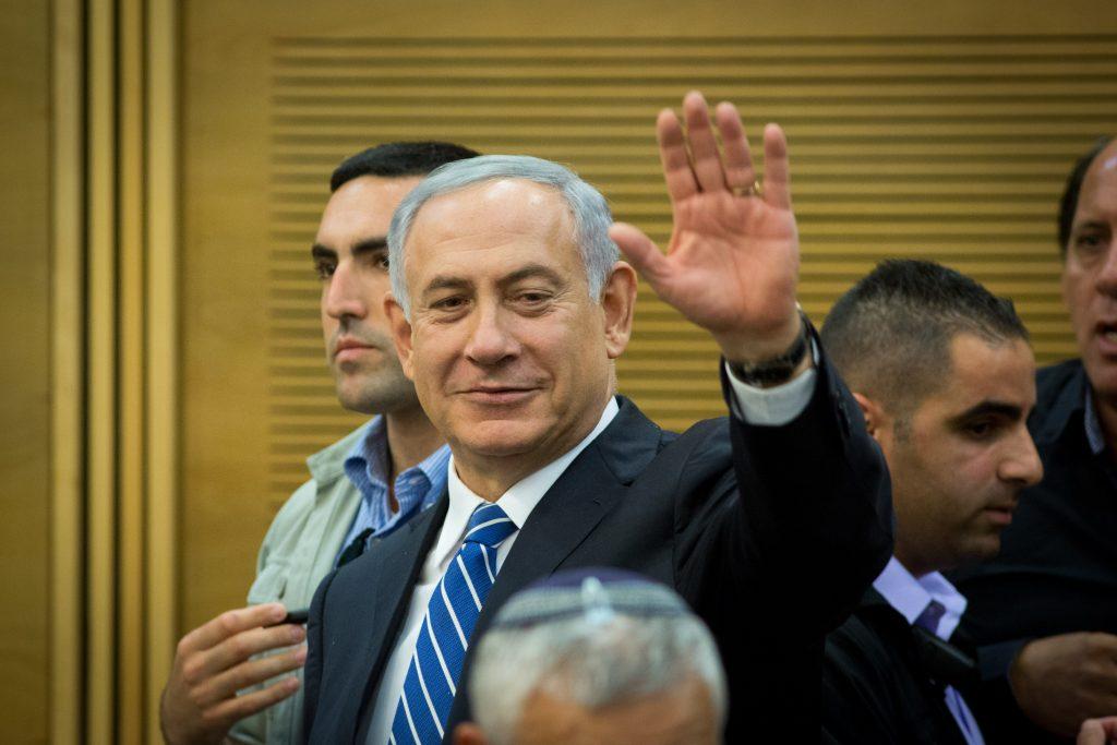 Prime Minister Binyamin Netanyahu seen during a Likud meeting on Monday. (Miriam Alster/Flash90)
