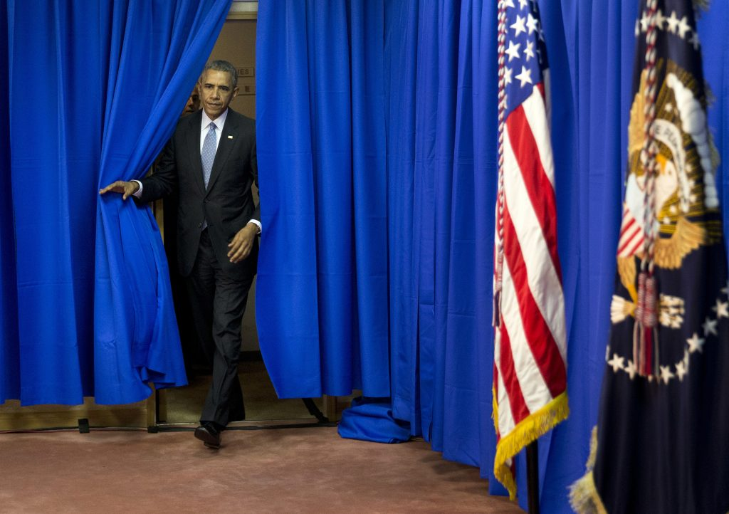 U.S. President Barack Obama arrives for a news conference at the Shima Kanko Hotel in Shima, central Japan, Thursday, May 26, 2016, after completion the third working session of the G-7 Summit. (AP Photo/Carolyn Kaster)