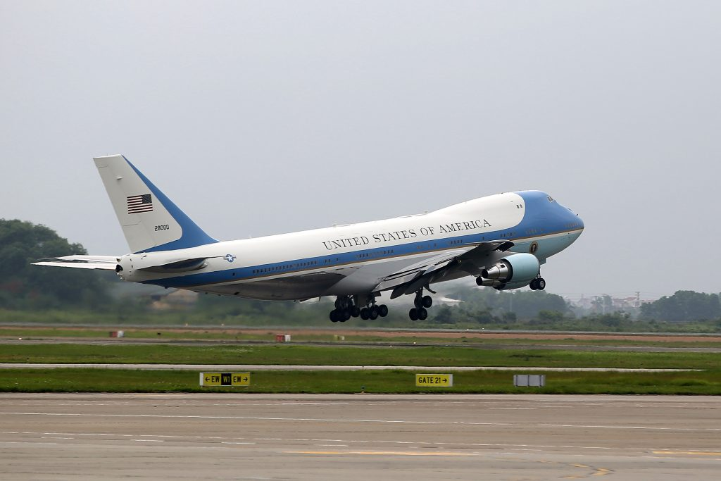 Air Force One carrying U.S. President Barack Obama takes off at Noi Bai International Airport in Hanoi, Vietnam, Tuesday, May 24, 2016. From Hanoi, Obama was to fly Tuesday to Ho Chi Minh City, formerly Saigon. (Luong Thai Linh/Pool Photo via AP)