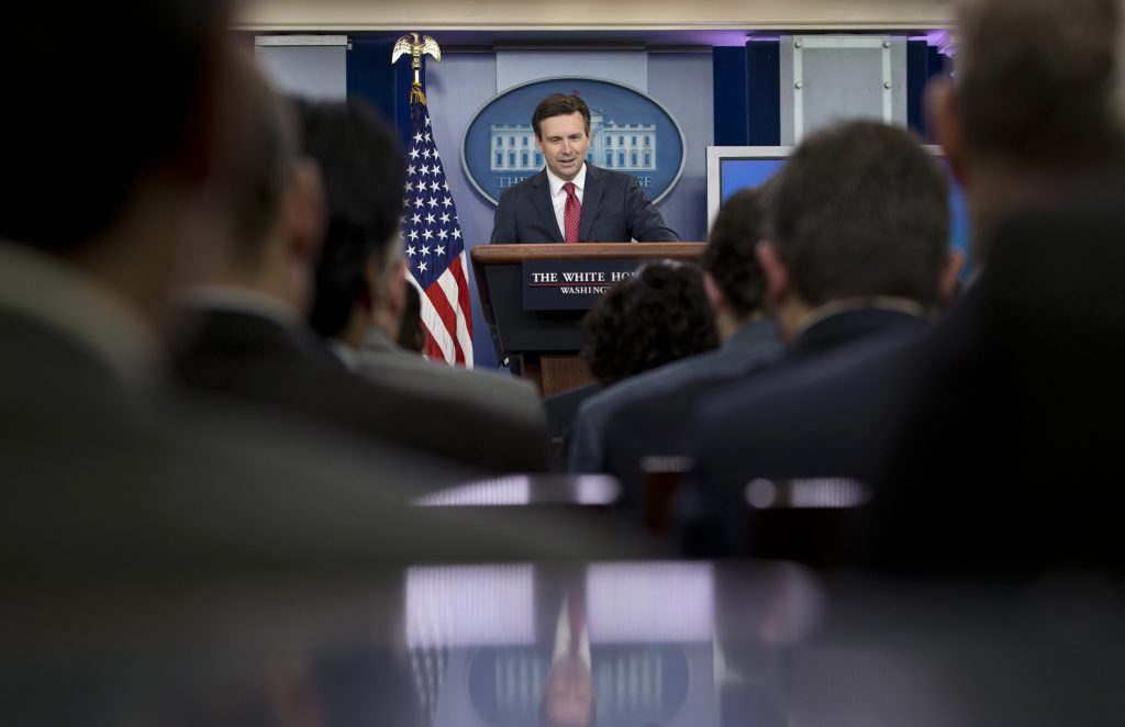 White House press secretary Josh Earnest speaks during the daily news briefing at the White House in Washington, Tuesday, May 10, 2016. Earnest discussed President Barack Obama's upcoming visit to a memorial to the victims of the U.S. atomic bomb attack on Hiroshima during World War II, and other topics. (AP Photo/Carolyn Kaster)