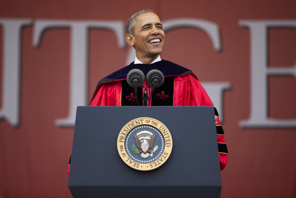 President Barack Obama  speaks during Rutgers University's 250th Anniversary commencement ceremony, on Sunday in Piscataway, N.J. (AP Photo/Evan Vucci)