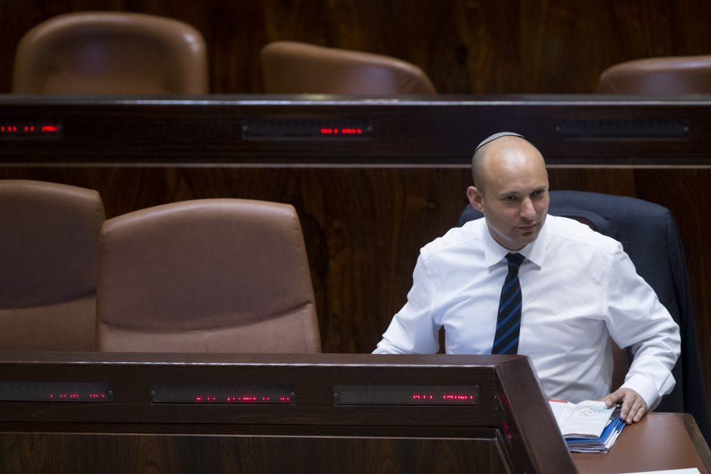 Education Minister Naftali Bennett at the Knesset on Monday. (Yonatan Sindel/Flash90)