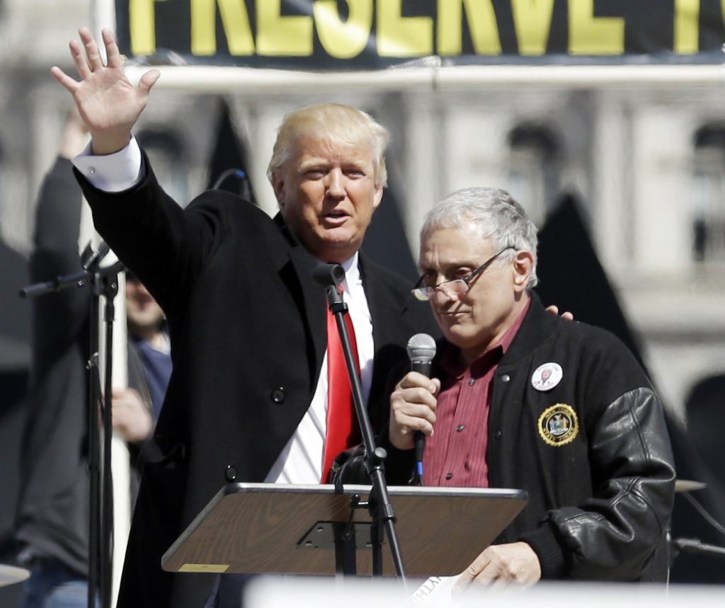 Carl Paladino (R), joined by Donald Trump last month, survived a challenge for his seat on the Buffalo school board by 18-year-old high school senior Austin Harig. (AP Photo/Mike Groll)