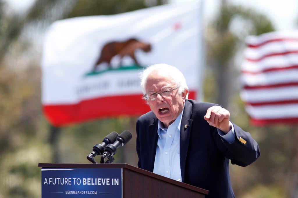 Democratic U.S. presidential candidate Bernie Sanders speaks at a campaign event in Ventura, California, U.S. May 26, 2016. REUTERS/Jonathan Alcorn