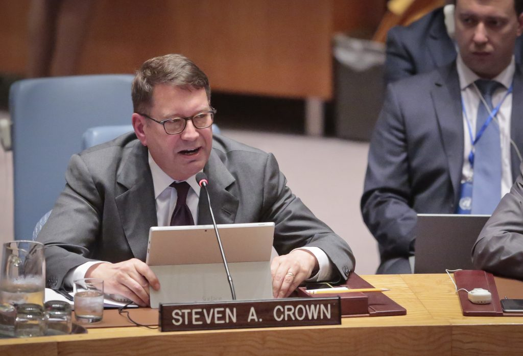 Microsoft Vice President and Deputy General Counsel Steven Crown speaks during a Security Council meeting on terrorism, at U. N. headquarters, on Wednesday. (AP Photo/Bebeto Matthews)