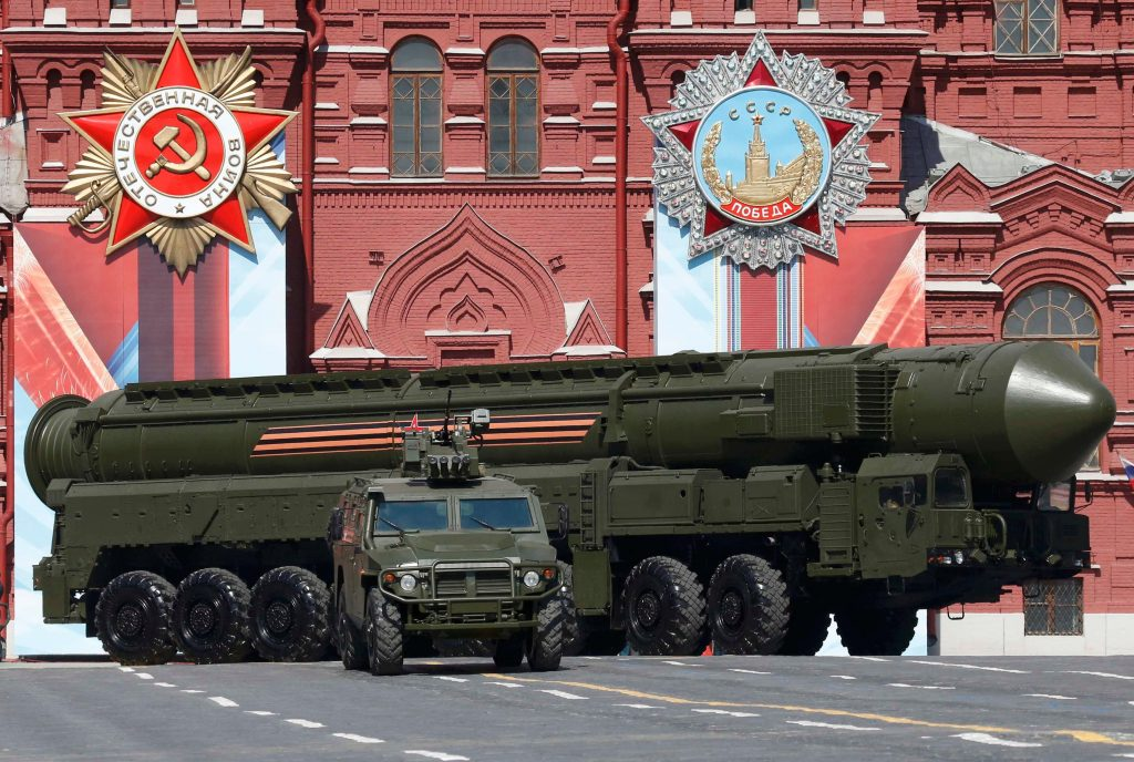 A Russian Yars RS-24 intercontinental ballistic missile system drives during the Victory Day parade, marking the 71st anniversary of the victory over Nazi Germany in World War Two, at Red Square in Moscow, Russia, May 9, 2016. REUTERS/Grigory Dukor TPX IMAGES OF THE DAY