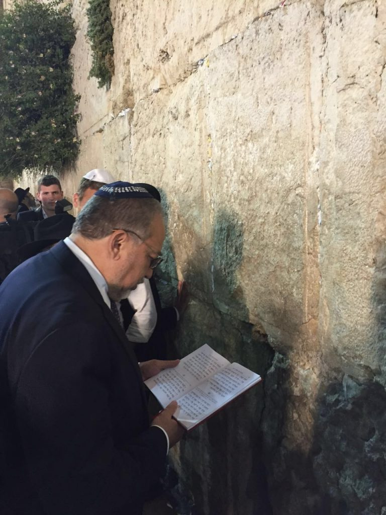 New Defense Minister Avigdor Liberman at the Kosel on Monday.