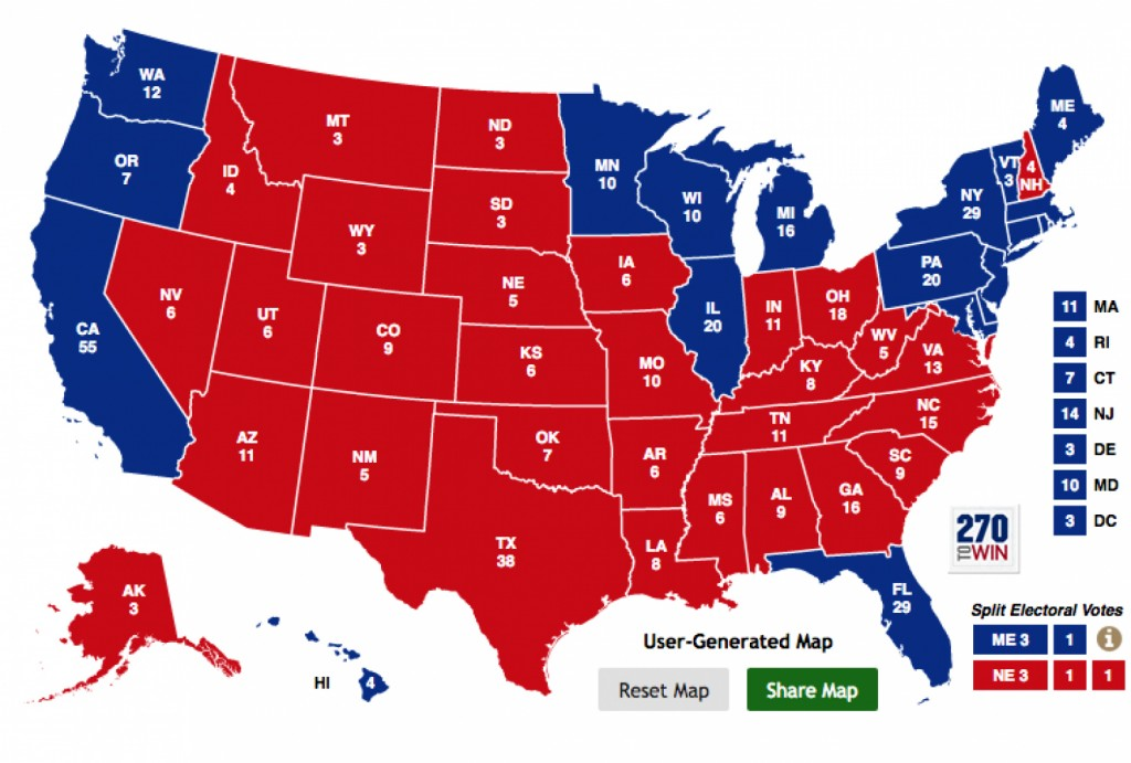 If the 2016 Democratic presidential nominee wins Florida and carries the 19 states (plus D.C.) that have voted for the Democratic nominee in each of the last six elections, here's what the electoral map would look like. (The Washington Post)