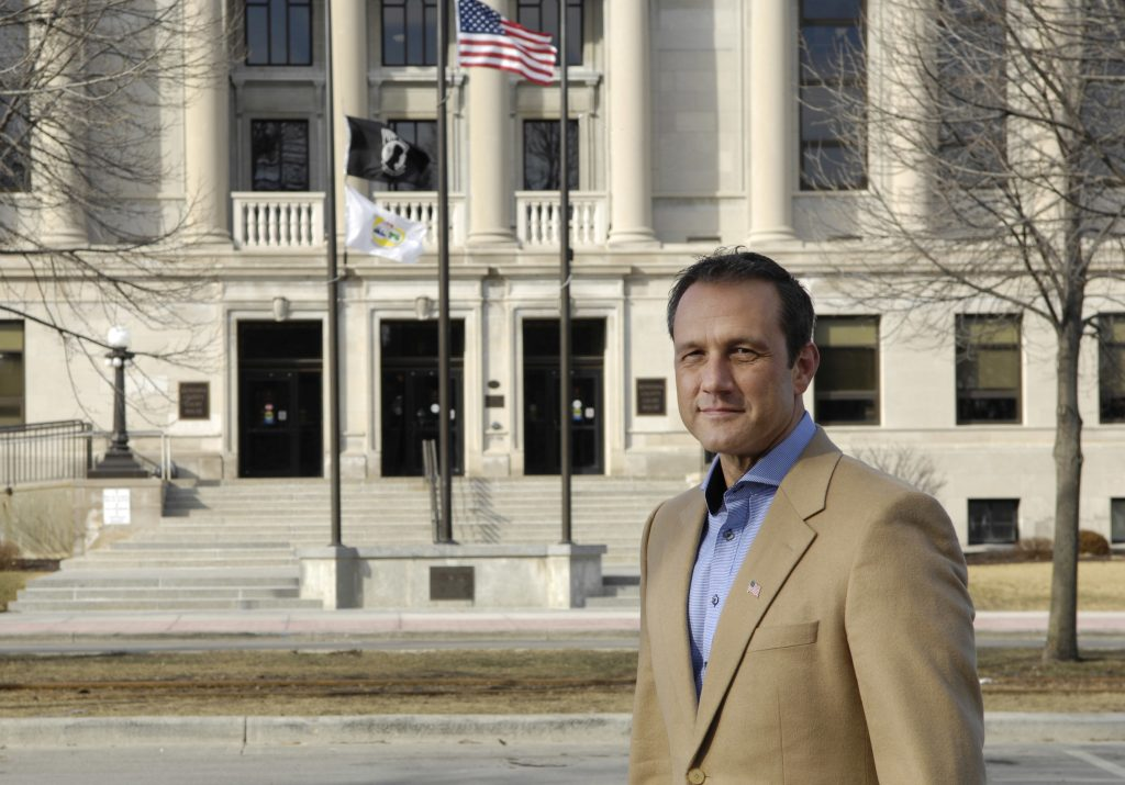 Paul Nehlen, pictured  in front of the Wisconson State Capitol in Madison, Wisc. (Volunteers for Nehlen photo via AP)