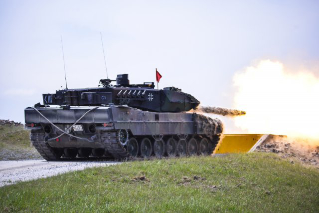 German Bundeswehr soldiers fire at their target during the Strong Europe Tank Challenge at the 7th Army Joint Multinational Training Command's Grafenwoehr Training Area, in Grafenwoehr, Germany, last week. (U.S. Army photo by Pfc. Javon Spence)
